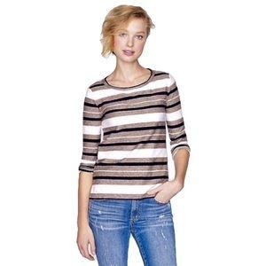 J Crew Striped Textured Top Shirt Sz Medium